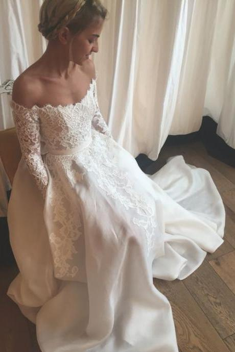 New Style Wedding Dress 2016,Off the Shoulder Wedding Dress,Long Sleeve Lace Wedding Dress,Appliques Wedding Gowns,Bridal Dress,Real Custom Made Wedding Dress,Wedding Dress