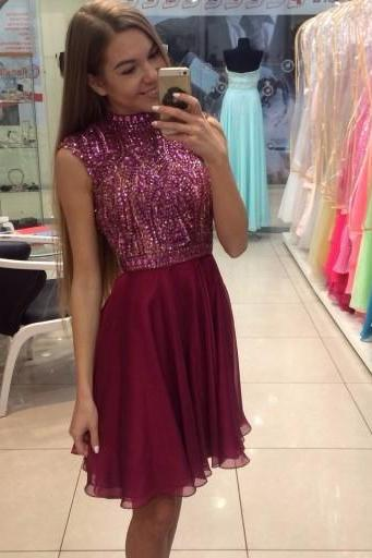 Beading Sexy Prom Dress A Line Chiffon Homecoming Dress for Juniors,Short Prom Gowns,Short Homecoming Dress,Noble Party Dress,Homecoming Dress