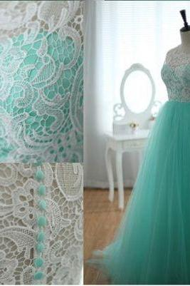 Tulle Prom Dres,Lace Prom Dress,Mint Prom Dresses,Party Dress,Evening Dress On Sale,Girl's Dress,A line Prom Gowns,Graduation Dress,Long Evening Gowns