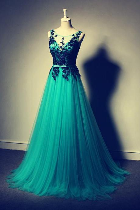 2016 Beautiful Appliques Prom Dress,Long Prom Dress,Prom Gowns 2016,Tulle Evening Dress,Evening Gowns