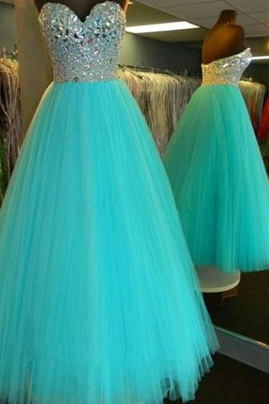 New Arrival Sexy Prom Dress Floor Length Sweetheart Fully Beaded Bodice Corset Ball Gown Prom Dress