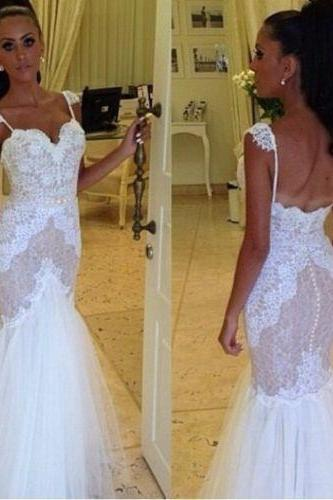 Sexy Open Back Lace Bodice and Tulle Skirt Mermaid Wedding Dress