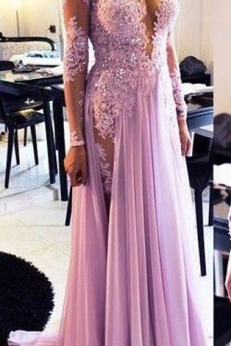 New Arrival Sexy Prom Dress Evening Dresses Sheer Neck Long Sleeves Lavender Lace and Chiffon Floor Length Party Dress Evening Gown with Beadings and Rhinestones