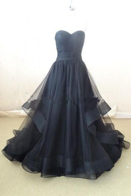 Black Prom Dresses,Princess Prom Dress,Ball Gown Prom GownTulle Evening Gowns,2016 Party Gowns