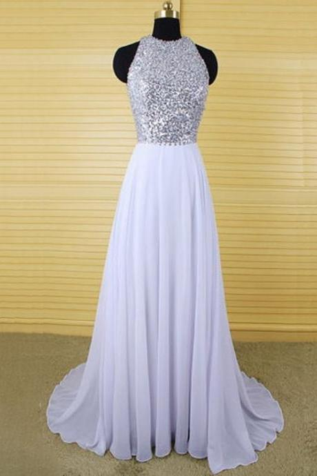 Halter Beaded Chiffon A-line Long Prom Dress, Evening Dress, Party Dress