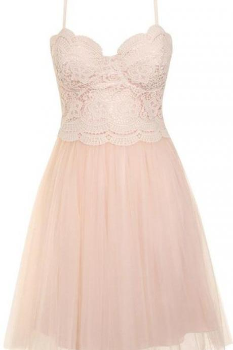 Spaghetti Strap A-line Short Tulle Prom Dress with Lace Bodice