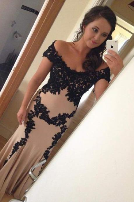 New Arrival Off Shoulder Evening Dress,Black Lace Mermaid Evening Dresses,Long Prom Dress