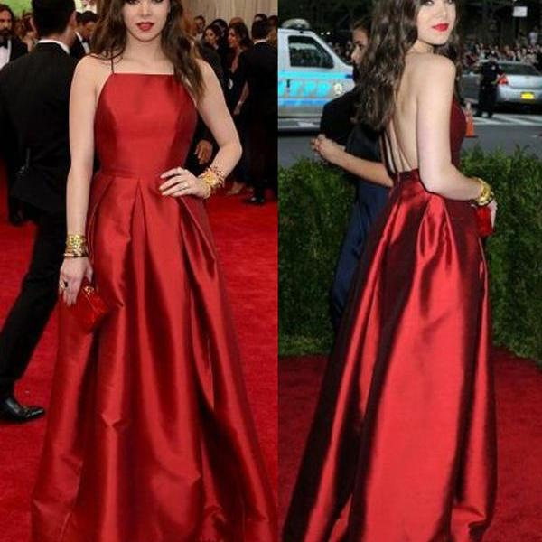 Elegant A Line Halter Backless Sleeveless Long Red Satin Prom/Evening Dresses