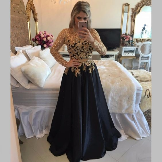 Long Sleeve Black Prom Dresses With Gold Sequins,Sexy Prom Dresses ,Illusion Back Long Party Dresses,Jewel Neck Black Gala Dresses