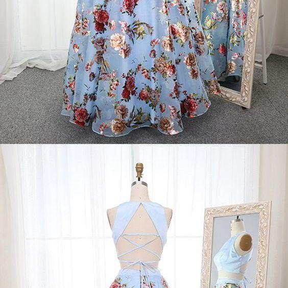Beautiful Pretty Two Piece Round Neck Blue Floral Organza Prom Dress