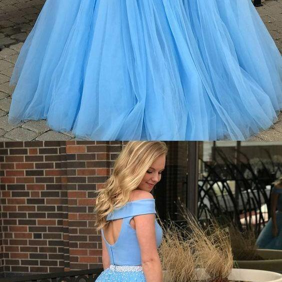 Two Piece Off-the-Shoulder Open Back Blue Prom Dress with Beading