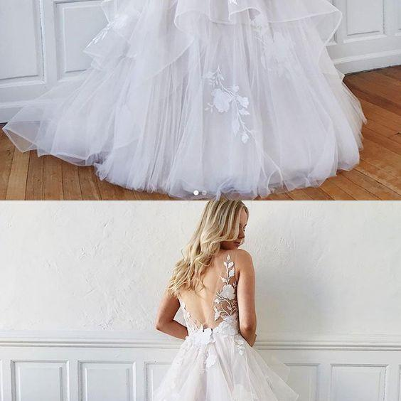 Fabulous princess white v neck tulle lace long prom dress, custom made sexy white evening dress