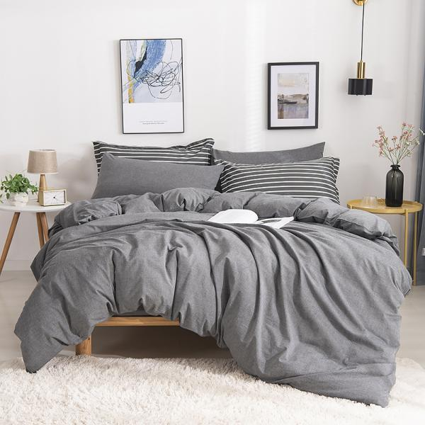 Ruccit Queen Duvet Cover Set Dark Gray 100% Washed Cotton Duvet Cover 3 Pieces Solid Soft Modern Bedding Set with Zipper Closure,Natural Wrinkle,Easy Care