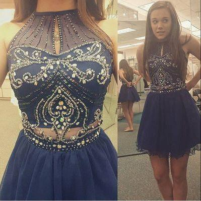 Homecoming Dress,High Neck Halter Navy Tulle Skirt Two Piece Short Prom Dress