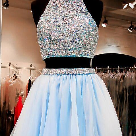 Beaded Embellished Two-Piece Homecoming Dress Featuring Crop Halter Top and Short Chiffon Skirt