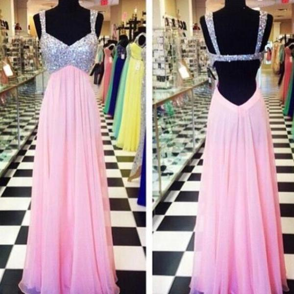 Pink Prom Dresses,Sparkly Prom Dress,Sparkle Prom Gown,Bling Prom Dresses,Straps Evening Gowns,2016 Evening Gown,Beaded Formal Dress For Teen