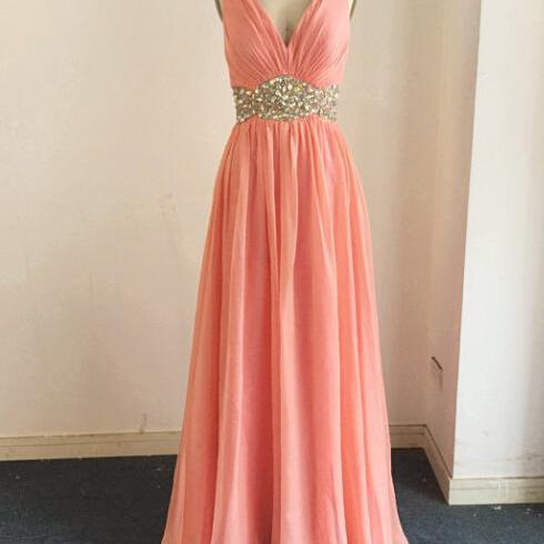 Sexy Prom Dresses,Straps Evening Dresses,New Fashion Prom Gowns,Elegant Prom Dress,Princess Prom Dresses,Chiffon Evening Gowns,Peach Formal Dress,Coral Evening Gown