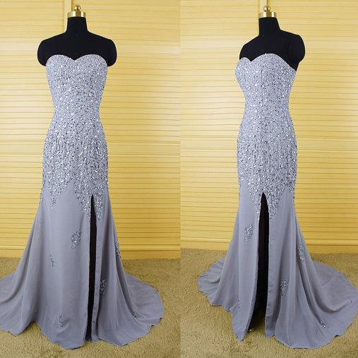 Sparkling Crystal Beaded Sweetheart Bandeau Long Prom Dress , Wedding Dresses with Split