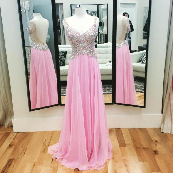High Quality Prom Dress,Unique Prom Dress,Sexy V-Neck Prom Dress,Pink Rhinestone Prom Dress,Formal Prom Dress,Backless Prom Dress,A line Evening Dress 2016