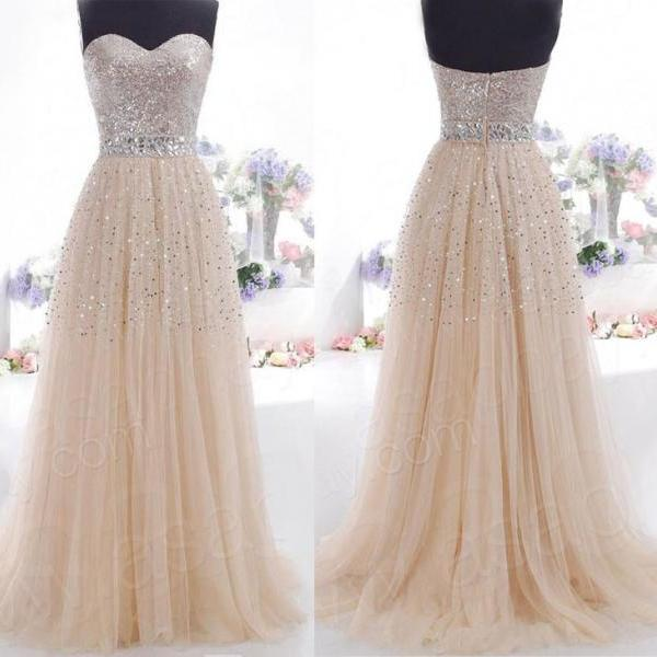 Cheap Sweetheart Heavy Beaded Bling Bling Tulle Long Champagne Prom Dresses Ball Gowns, Formal Evening Dresses Gowns, Homecoming Graduation Cocktail Party Dresses