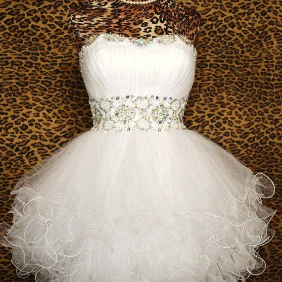 Ball Gown Sweetheart Beaded Tulle Short Prom Dresses Gowns 2016, Formal Evening Dresses Gowns, Homecoming Graduation Cocktail Party Dresses