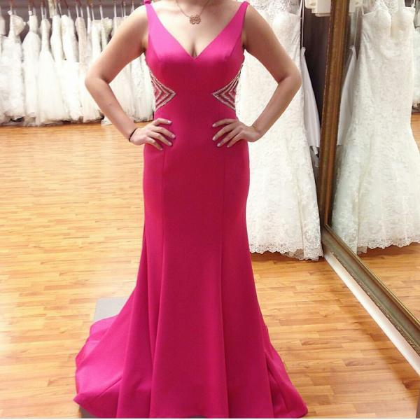 New Arrival Sexy Prom Dress,Sexy V-beck Satin Formal Occasion Party Dress with Beadings
